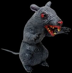Creepy Giant Latex Sitting Evil Rat is a jumbo size Halloween prop decoration. Ferocious looking hungry demon rodent is ready to attack from his haunted house hideout! Scary enough for your mad scientist laboratory. Approx 10-inch tall. http://horror-hall.com/Huge-SITTING-EVIL-DEMON-RAT-Halloween-Haunted-House-Horror-Prop-HH-SS-80284.htm