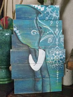 Boho elephant painting pallet art. Check out this item in my Etsy shop https://www.etsy.com/listing/462428106/boho-elephant-art-pallet-sign-made-to