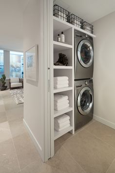 The Smithe by Boffo Small Laundry Closet, Laundry Closet Makeover, Laundry Nook, Laundry Room Remodel, Laundry Room Storage, Laundry Room Design, Laundry In Bathroom, Modern Laundry Rooms, Laundry Room Inspiration