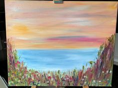 """Bright modern original oil painting, """"Seaside and Flowers"""" 50 x 40 cm Mount Laurel, Watercolor Sunset, Yellow Eyes, Stonehenge, Shades Of Yellow, Frame Shop, Red Poppies, Paintings For Sale, Beautiful Paintings"""