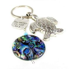 Silver Sea Turtle and Abalone Shell Keychain