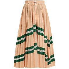 Valentino High-rise chevron-striped pleated jersey skirt (€990) ❤ liked on Polyvore featuring skirts, röcke, beige, high waisted skirts, ballet skirt, pink high waisted skirt, red jersey and high waisted knee length skirt