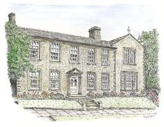 The Parsonage, Howarth. Home of Charlotte Bronte. Pen and ink art by Myra Weir, Fine Lines Art.