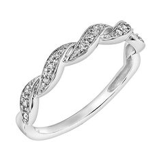 Vera Flower Wedding Ring Simply 14k White Gold Diamond Accent Twist Jewlery Pinterest And