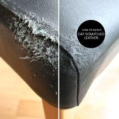 to repair cat scratched leather How to repair cat scratched leather in TWO STEPS.How to repair cat scratched leather in TWO STEPS. Leather Couch Repair, Faux Leather Couch, How To Repair Leather, Diy Leather Furniture Repair, Chalk Paint Chairs, Chair Repair, Furniture Scratches, Diy Sofa, Leather Cleaning