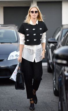 Two-toned talent: Tennis star Maria Sharapova displayed her fashion flair on Tuesday when . Maria Sharapova, Monochrome Outfit, Tennis Players Female, Tennis Fashion, Tennis Stars, Layering Outfits, White Outfits, Sports Women, Street Style