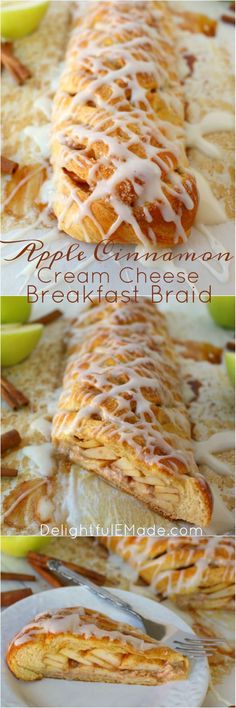 Apple Cinnamon Cream Cheese Breakfast Braid | DelightfulEMade.com | The easiest apple pastry you'll ever make!