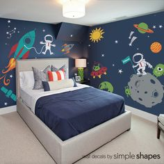 Outer Space Wall Decals by Simple Shapes® Made from our premium removable matte vinyl. Turn your child's room into fun filled outer space experience! [Size] Overall Size (approx): 160 Chambre Nolan, Kids Wall Decals, Wall Stickers, Bedroom Themes, Space Theme Bedroom, Bedroom Ideas, Lego Bedroom, Bedroom Boys, Boy Bedrooms