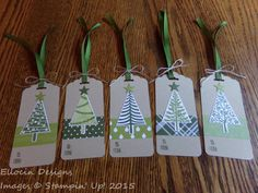 Set of 5 Christmas tags made with Festival of Trees stamp set, Merry Moments Designer Series Paper, and Scalloped Tag Topper Punch from Stampin' Up!