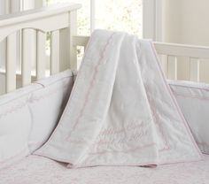 Pink and white crib bedding $154