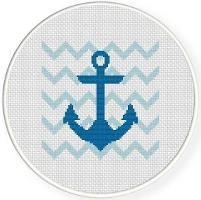Blue Anchor Cross Stitch Pattern - via @Craftsy