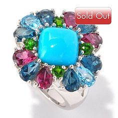 Gem Insider Sterling Silver 10mm Sleeping Beauty Turquoise & Multi Gem Ring