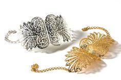 24 karat gold plated Helena Metal Lace Bracelet.by Inbar Shahak