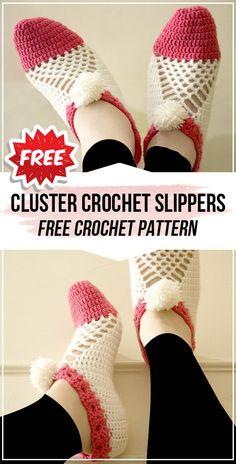 crochet Cluster Crochet Slippers free pattern - easy crochet slippers pattern for beginners Easy Crochet Slippers, Crochet Slipper Pattern, Crochet Patterns, Crochet Hats, Crochet Ideas, Cotton Thread, Fingerless Gloves, Arm Warmers, Free Pattern