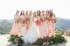 long pink bridesmaid gowns by Amsale | Photography: Max Wanger http://maxwanger.com/, Design and Styling by http://bashplease.com/, Florals by  http://brownpaperdesign.com/