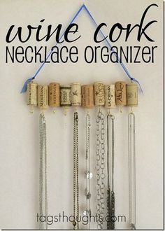 DIY Upcycle Wine Cork Jewelry Necklace Organizer by trishsutton.com #necklaceorganizer #necklacediy