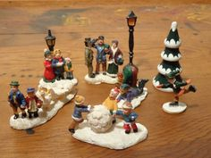Vintage Christmas Figurines -  Miniature Resin Christmas Village Figures  -  16-509 by BubbiesMemories on Etsy