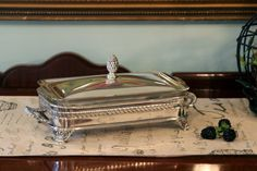Silver Plate Loaf Pan Stand with Glass Baking Dish and Lid - Buffet Serving Set - Artichoke Finial