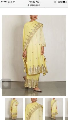 Check out our Shaded Yellow Cotton Mul Kurta Set by SUKRITI & AAKRITI available at Ogaan Online store at special price. Sukriti and Aakriti dress up their breezy cotton pieces with gota and sequins to create a striking, contemporary Indian collection Indian Suits, Indian Attire, Indian Dresses, Indian Wear, Designer Punjabi Suits, Indian Designer Wear, Desi Wear, Desi Clothes, Ethnic Dress