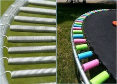 This is so clever if your trampoline spring cover is ruined. Also a good idea to bury the trampoline closer to the ground for falls. Trampoline Springs, Trampoline Party, Backyard Trampoline, Trampoline Ideas, Trampoline Spring Cover, Hand Injuries, Outdoor Fun, Outdoor Decor, Outdoor Living