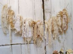 Shabby Chic Romantic Home Decor | Shabby chic lace fabric garland romantic wall hanging hand made cream ...