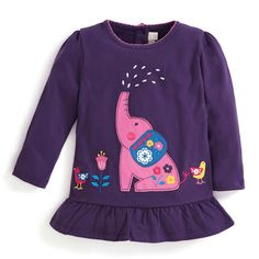 New this season is our Girls' Elephant Applique Tunic, designed to be worn over leggings for a casual outfit. Pretty elephant applique features on the Elephant Applique, Purple Elephant, Cotton Tunics, Our Girl, Casual Outfits, Womens Fashion, Infant Toddler, Toddler Girls, Clothes