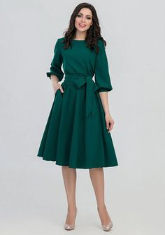 FLAVOR 2018 Women Fashion vintage Dress Green O-Neck Elegant A line dress puff… S.FLAVOR 2018 Women Fashion vintage Dress Green O-Neck Elegant A line dress puff sleeve vestidos Party autumn dress no pocket – PasangSurut Half Sleeve Dresses, Knee Length Dresses, Long Sleeve Work Dress, Midi Dress Work, Dress Sleeves, Dress Pockets, Sleeved Dress, Half Sleeves, Casual Dresses For Women
