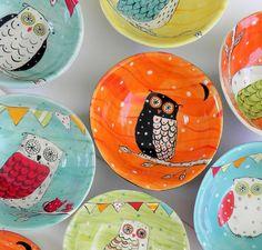 Owl Bowl by joyelizabethceramics on Etsy, $29.00  These are wonderful!