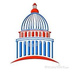 Capitol Congress and Senate building red and blue