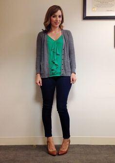 Green ruffled top is bright, interesting, and slimming. Cardigan looks nice while being comfy, and the pants balance nicely.
