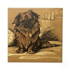 peke on sepia background (tile)