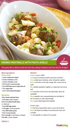 With no name products, there's no need to shell out more. Feast for less with Herbed meatballs and shells, Healthy Junk, Healthy Meals, Healthy Food, Healthy Recipes, Pasta Shells, Small Pasta, Christmas Lunch, South African Recipes, Pasta Salad Recipes