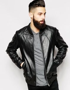 $108, Black Leather Bomber Jacket: Asos Brand Leather Bomber Jacket. Sold by Asos. Click for more info: https://lookastic.com/men/shop_items/287306/redirect