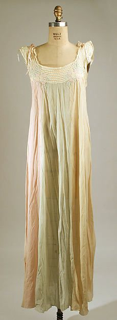 Nightgown Date: late 1930s Culture: French Medium: silk, cotton Dimensions: Length (from shoulder): 52 1/2 in. (133.4 cm) Credit Line: Gift of Mrs. Stephen M. Kellen, 1978 Accession Number: 1978.165.7