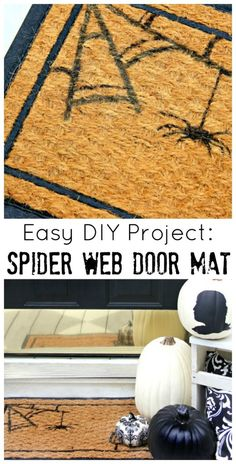 Halloween Front Door Decor:  Spider Web Door Mat