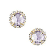 $150 CRISLU Micro Pave and Faux Purple AMETHYST 18K Gold Micro Luxe Studs