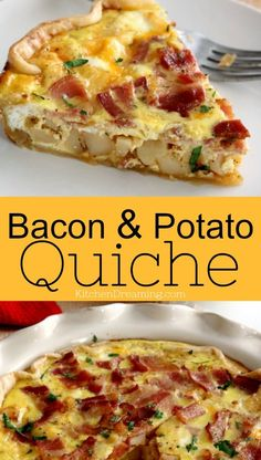 Filled with eggs cheese bacon and diced potatoes this Breakfast Bacon and Potato Quiche is hearty and filling. It's great for breakfast brunch lunch or dinner. Breakfast Quiche, Bacon Breakfast, Breakfast For Dinner, Perfect Breakfast, Breakfast Dishes, Breakfast Casserole, Potatoes For Breakfast, Gourmet Breakfast, Christmas Breakfast