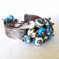 Fused Silver and Rustic Copper Bracelet by by Tracy Bell @ CopperGlassAndRecycledTrash.blogspot.com