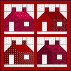 Red & White Schoolhouse - includes speed piecing techniques. I love the traditional look of these buildings.
