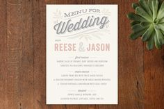 Rustic Charm Menu by Hooray Creative at minted.com