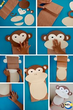 Monkey Paper Bag Puppet with Free Template - How to Make It