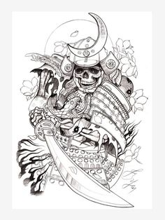 Tattoo sketches by jess yen, tattoo ebook Sketch Tattoo Design, Tattoo Sleeve Designs, Tattoo Sketches, Tattoo Drawings, Japanese Tattoo Art, Japanese Tattoo Designs, Japanese Sleeve Tattoos, Tatuaje Grim Reaper, Oni Tattoo