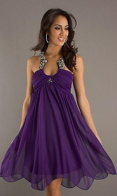 Beautiful purple sequined gown.
