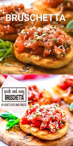 Looking for light, healthy appetizer? Bruschetta is bursting with flavor and always a hit. Toasted French Bread topped with a delicious mixture of tomatoes, basil, Parmesan cheese, balsamic vinegar and seasonings. Fresh and amazing appetizer recipe! Best Bruschetta Recipe, Best Appetizer Recipes, Quick And Easy Appetizers, Healthy Appetizers, Healthy Recipes, Bruschetta Bread, French Appetizers, Mini Appetizers, Parmesan
