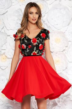 "StarShinerS red occasional cloche dress voile fabric with v-neckline embroidered with floral details with 3d effect, floral details, flaring cut, ""V"" cleavage, 3D effect, embroidery details, short sleeves, voile fabric"