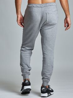 Rush Jogger - Fourlaps Mens Workout Pants, Joggers, Sweatpants, Mens Fitness, French Terry, Athletic, Elastic Waist, Seal, Model