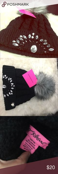 Black Betsey Johnson beanie with Gray fur Pom Embellish black and silver jewels on front. Knitted Betsey Johnson Accessories Hats