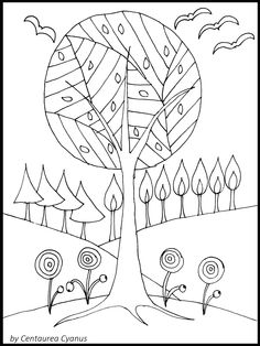 Free Coloring Page By Centaurea Cyanus