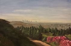 Downtown LA from Griffith Park, 2014. Oil.