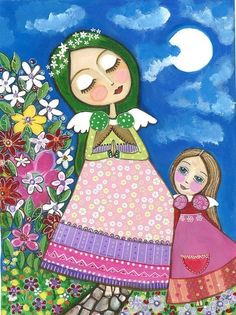 Folk Art Painting Mother Angel and Little Angel by Evonagallery